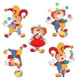 Set of Cartoon Cute Cats Clowns Stock Photography