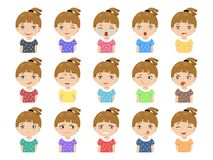 Set of Cartoon cute caucasian girl face emotions. Vector Icons. Set of 15 emotions Royalty Free Stock Photography