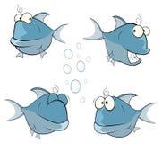 Set of cartoon cute deep-water fish Royalty Free Stock Photography