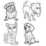 Set of cartoon cute dog coloring page vector Stock Photos