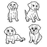 Set of cartoon cute dog coloring page vector Royalty Free Stock Photos