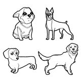 Set of cartoon cute dog coloring page vector Royalty Free Stock Photo