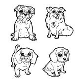 Set of cartoon cute dog coloring page vector Royalty Free Stock Images