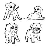 Set of cartoon cute dog coloring page vector Stock Photo