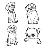 Set of cartoon cute dog coloring page vector Stock Images