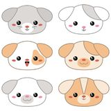 Vector illustration of animal faces. Set of cartoon cute dog faces on white background Royalty Free Stock Photography