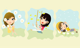 Set cartoon cute girls Royalty Free Stock Photos