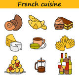 Set of cartoon cute hand drawn icons on french Royalty Free Stock Photos