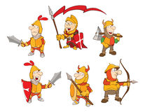 Set of Cartoon Cute Knights Royalty Free Stock Photo