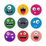 Set of cartoon cute monster faces. flat vector illustration. Set of cartoon cute monster faces. colorful funny avatars and icons. flat vector illustration Royalty Free Stock Image