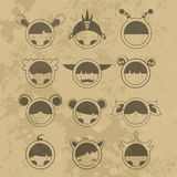 Set cartoon cute monsters. Vector. 10 Stock Photo