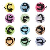 Set of cartoon cute monsters Royalty Free Stock Image