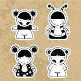 Set cartoon cute monsters. Vector illustrations girls. Stock Images