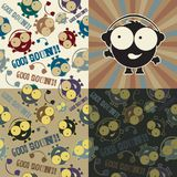 Set of cartoon cute Musical doodles seamless pattern.  Royalty Free Stock Image