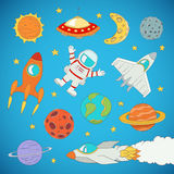 Set of cartoon cute outer space. Astronaut, planets, rockets Royalty Free Stock Image