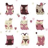 Set of cartoon cute owl Stock Photography