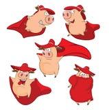 Set Cartoon Cute Pigs in Superhero Stock Photos