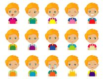 Set of Cartoon cute redheaded caucasian boy face emotions. Vector Icons. Set of 15 emotions Stock Image