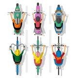 Set of cartoon cyclists and motorcycles Royalty Free Stock Photography