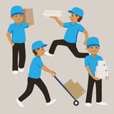Set of cartoon delivery man in blue uniform and cap carrying boxes and cartons. Royalty Free Stock Photography