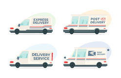 Set of cartoon delivery post car. Vector courier and shipping symbol. Vector auto, trailer and van design template Stock Images