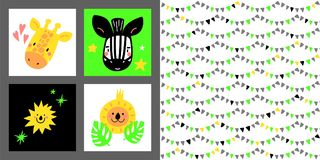 Set of cartoon design elements with animals. For postcards, invitations, fashion industry. Handdrawn kids collection. Set of cartoon design elements elements Royalty Free Stock Photography