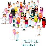 Set of cartoon different arab people in flat style. Royalty Free Stock Photography