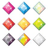 Set of cartoon different color crystals, gemstones, diamonds vector gui assets collection for game design. Vector illustration of cartoon different color Vector Illustration