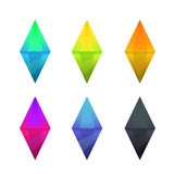Set of cartoon different color crystals Royalty Free Stock Photo