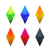 Set of cartoon different color crystals Stock Images