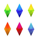 Set of cartoon different color crystals Royalty Free Stock Images