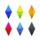 Set of cartoon different color crystals Royalty Free Stock Photography