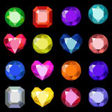 Set of cartoon different color crystals, gemstones ,gems, diamonds vector. Vector image on black background. Stock Images
