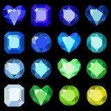 Set of cartoon different color crystals, gemstones, gems, diamonds vector. Vector image on black background. Royalty Free Stock Photography