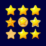 Set of Cartoon different Stars. Vector illustration.Set of Cartoon different Stars.Cartoon glossy Star isolated on a dark background. Game icon.Vector design Royalty Free Stock Photos