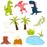 Set of cartoon dinosaur vector clipart illustration. Stock Photography