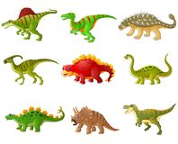 Set of cartoon dinosaurs collections Stock Images