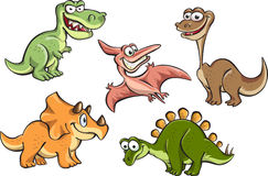Set of cartoon dinosaurs Stock Image