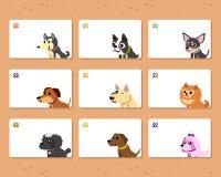Set of cartoon dogs card template Stock Photography