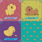 Set of cartoon dogs Chow-chow. Colorful vintage cards with funny pets. Seamless pattern with brown dogs. Vector illustration. Banners for custom text. EPS 8 Royalty Free Stock Image