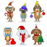Picture with Set of cartoon dogs with Christmas attributes, painted figures on white background, isolate. Set of cartoon dogs with Christmas attributes, painted Royalty Free Stock Photos