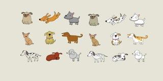 Set of cartoon dogs. Happy pets. ZOO royalty free stock photo