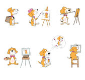 Set of cartoon dogs with painting materials. Cute fine art painter. Character for hobby classes. Mascot Stock Photos
