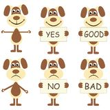 Set of cartoon dogs with signs Royalty Free Stock Photos