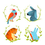 Set of Cartoon Domestic Animals Portraits Royalty Free Stock Images