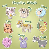 Set of cartoon domestic animals vector illustratio Royalty Free Stock Photo