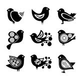 Set of cartoon doodle birds icons Royalty Free Stock Images
