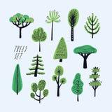 Set of cartoon doodle trees. Beautiful hand drawn childish, primitive style illustration collection. Stock Photo