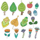 Set of cartoon, doodle trees, flowers, fruits Royalty Free Stock Photos