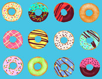 Set of cartoon doughnuts donut cake isolated on bright blue background. Pastry donuts menu. Royalty Free Stock Images